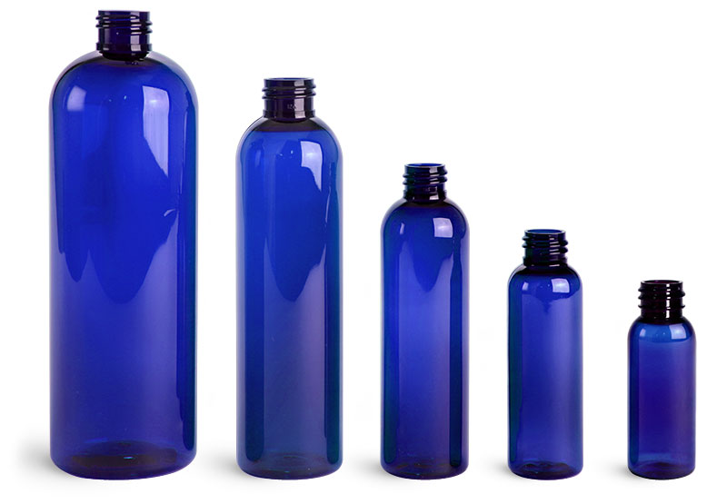 Blue PET Cosmo Round Bottles (Bulk), Caps NOT Included