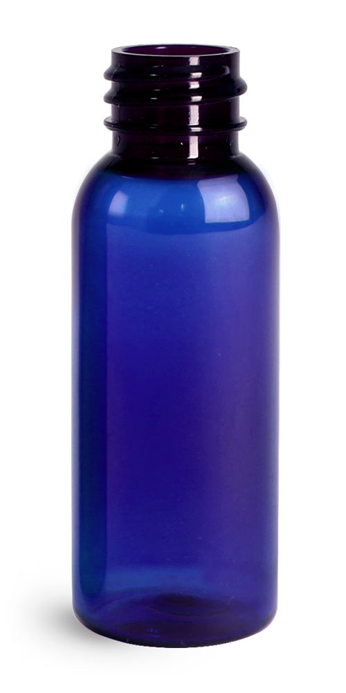 1 oz Blue PET Cosmo Round Bottles (Bulk), Caps NOT Included