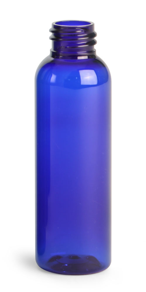 2 oz Blue PET Cosmo Round Bottles (Bulk), Caps NOT Included