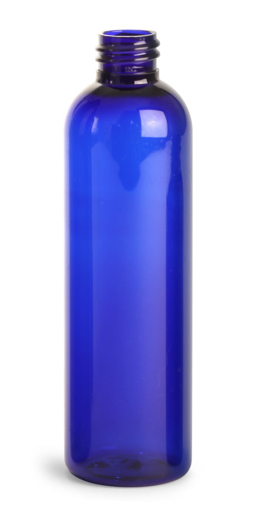 4 oz Blue PET Cosmo Round Bottles (Bulk), Caps NOT Included