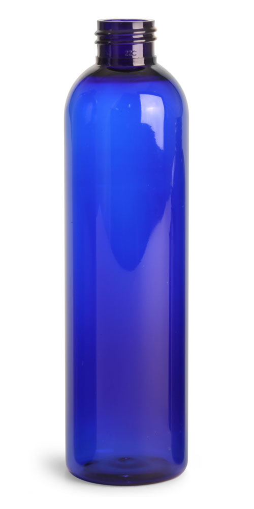 8 oz Blue PET Cosmo Round Bottles (Bulk), Caps NOT Included