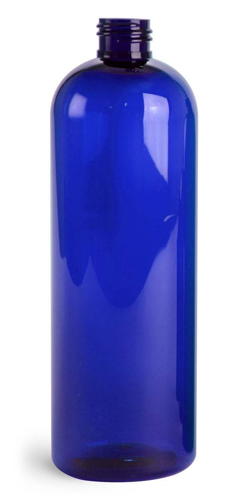 16 oz Blue PET Cosmo Round Bottles (Bulk), Caps NOT Included