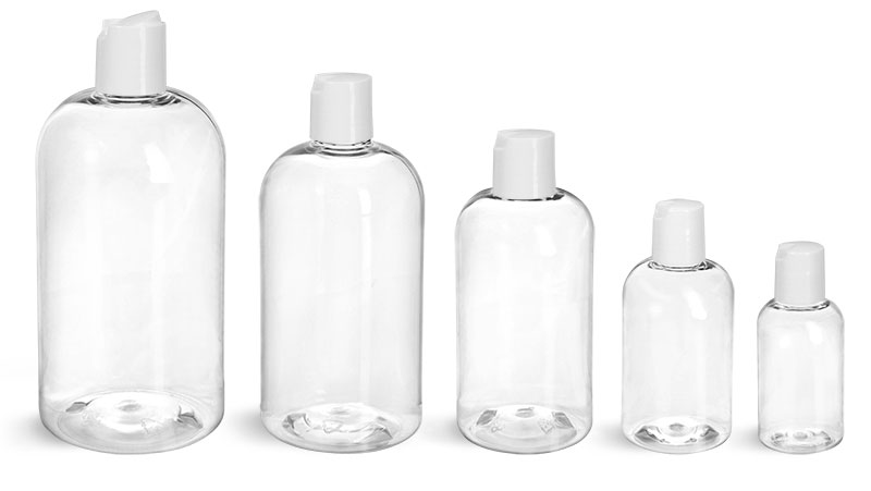 PET Plastic Bottles, Clear Boston Round Bottles w/ <br/>Smooth White Disc Top Caps