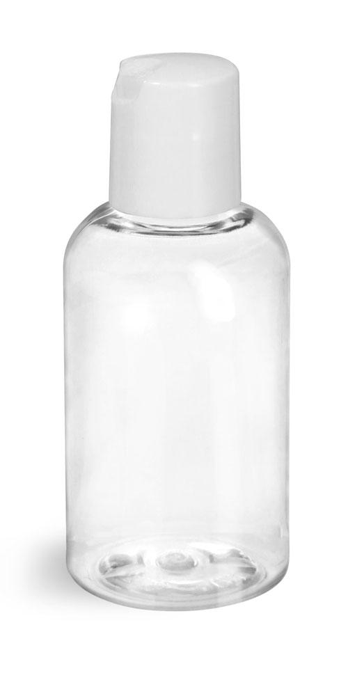 2 oz Clear PET Boston Round Bottles w/ Smooth White Disc Top Caps