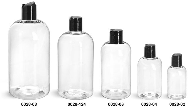 Plastic Bottles, Clear PET Boston Round Bottles With Smooth Black Disc Top Caps