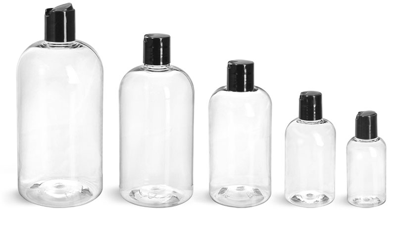 PET Plastic Bottles, Clear Boston Round Bottles w/ <br/>Smooth Black Disc Top Caps