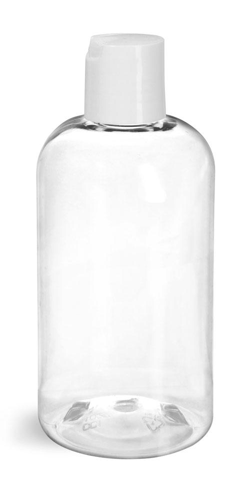 8 oz Clear PET Boston Round Bottles w/ Smooth White Disc Top Caps
