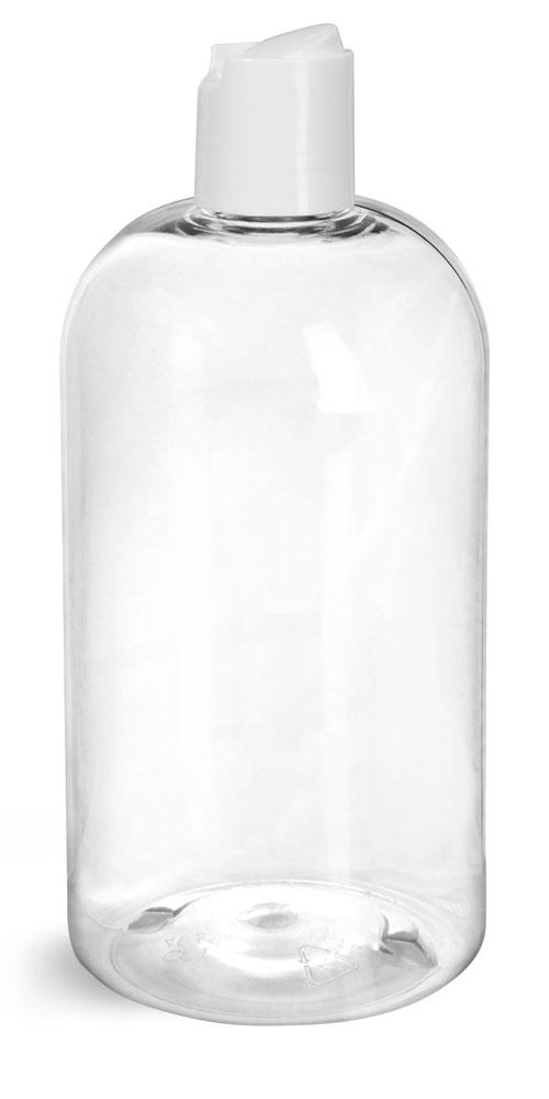 16 oz Clear PET Boston Round Bottles w/ Smooth White Disc Top Caps