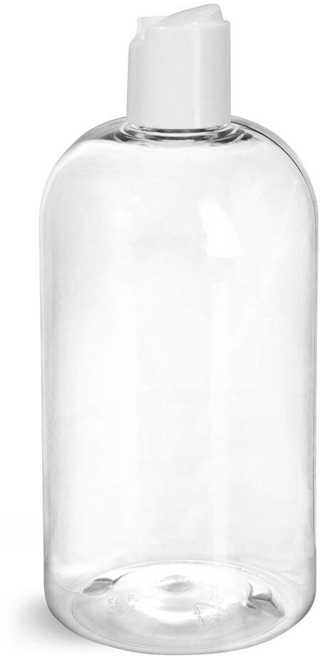 Clear PET Boston Round Bottles w/ Smooth White Disc Top Caps