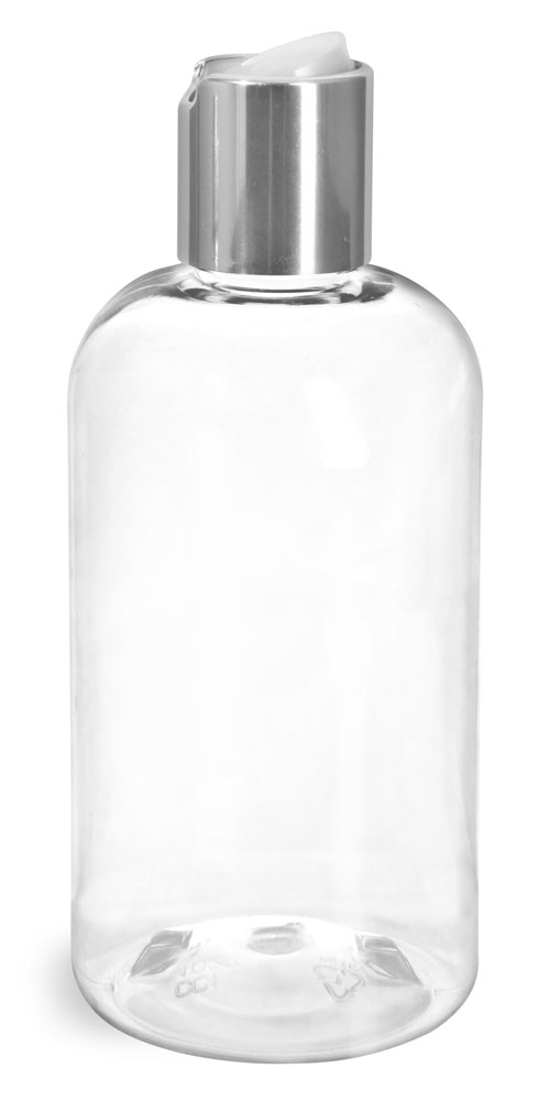 8 oz Clear PET Boston Round Bottles w/ Silver Disc Top Caps
