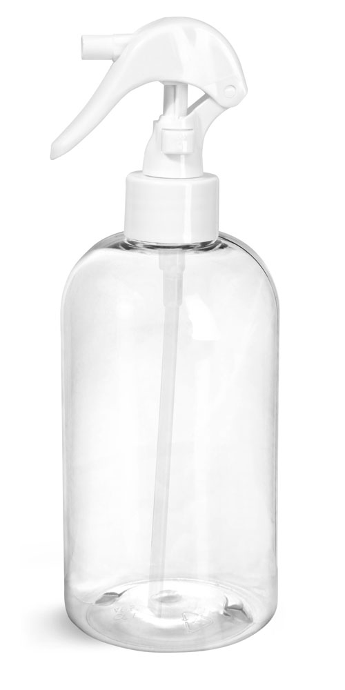 16 oz Clear PET Round Bottles w/ White Mini Trigger Sprayers