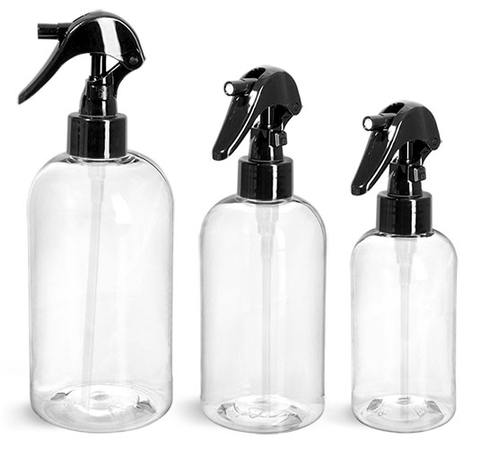 PET Plastic Bottles, Clear Boston Round Bottles w/ Black Mini Trigger Sprayers