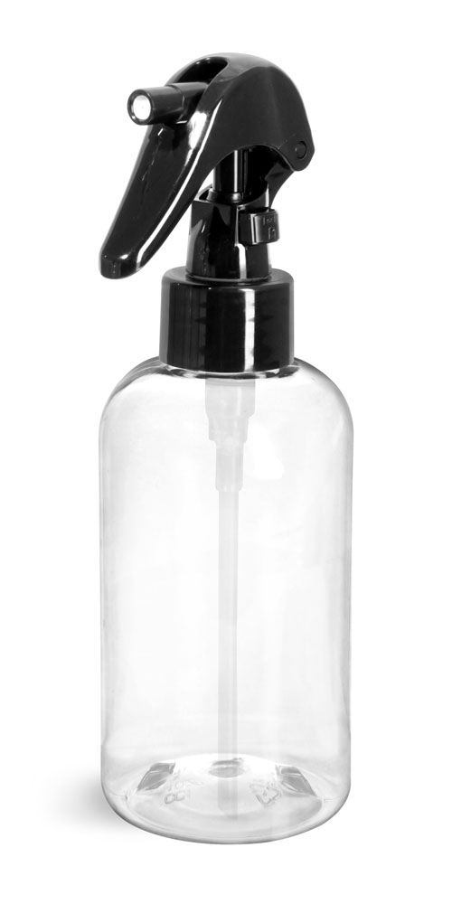 Clear PET Round Bottles w/ Black Mini Trigger Sprayers