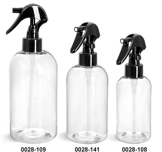 Plastic Bottles, Clear PET Boston Round Bottles w/ Black Mini Trigger Sprayers