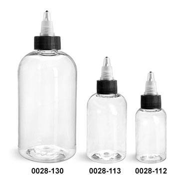 Plastic Bottles, Clear PET Boston Round Bottles w/ Black/Natural Induction Lined Twist Top Caps