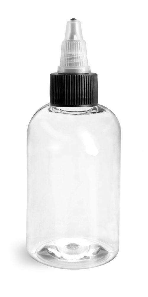4 oz Plastic Bottles, Clear PET Boston Rounds w/ Black/Natural Induction Lined Twist Top Caps