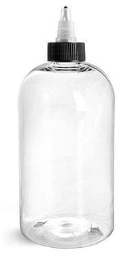 16 oz Clear PET Round Bottles w/ Black/Natural Twist Top Caps