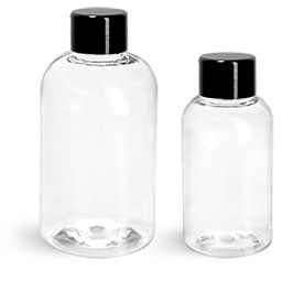 PET Plastic Bottles, Clear Boston Round Bottles w/ Black Smooth PS-22 Lined Caps