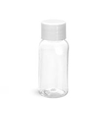 PET Plastic Bottles, Clear Boston Round Bottles w/ White Smooth PS-22 Lined Caps