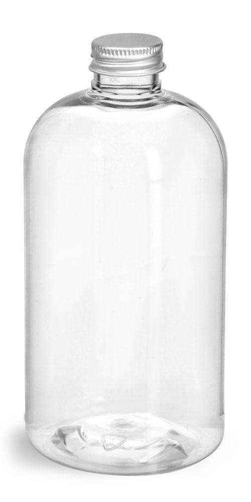 12 oz  Clear PET Boston Rounds w/ Lined Aluminum Caps