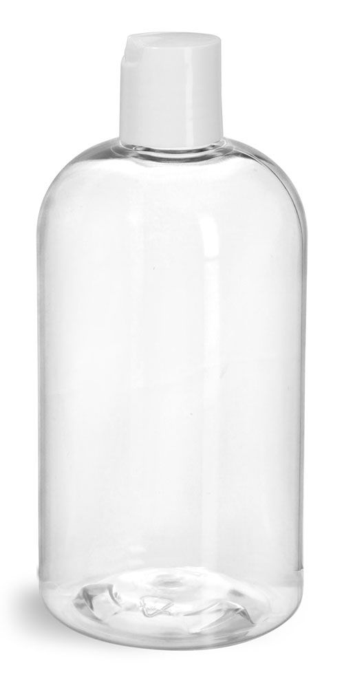 12 oz  Clear PET Boston Rounds w/ White Disc Top Caps