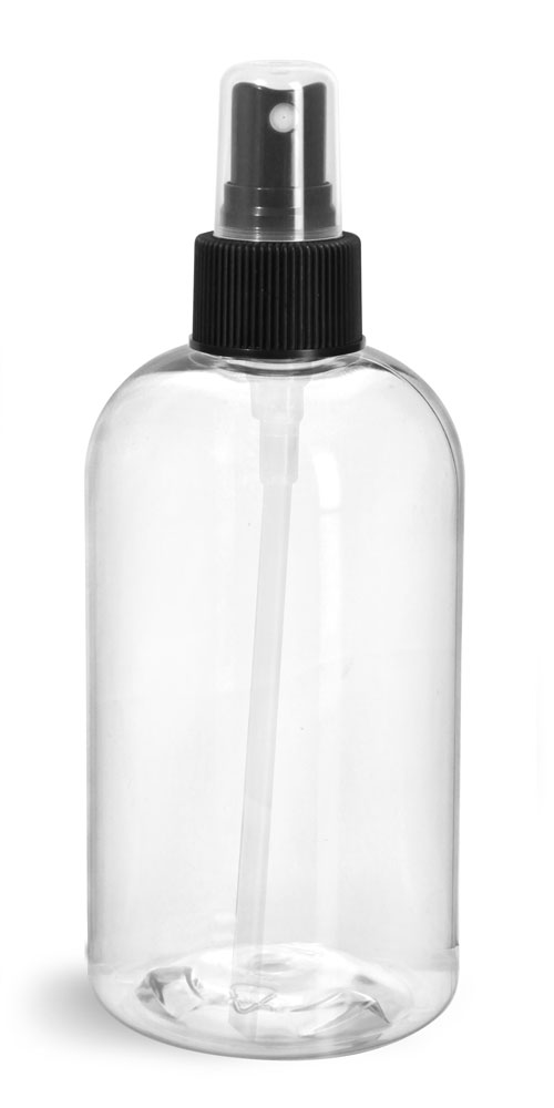 12 oz  Clear PET Boston Rounds w/ Black Fine Mist Sprayers