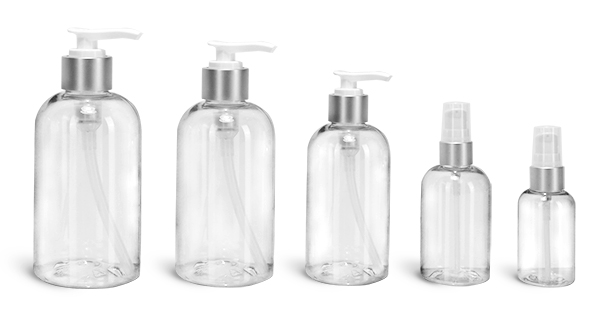 PET Plastic Bottles, Clear Boston Round Bottles w/ White Lotion Pumps w/ Brushed Aluminum Collars