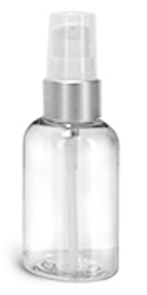 2 oz PET Plastic Bottles, Clear Boston Round Bottles w/ White Lotion Pumps w/ Brushed Aluminum Collars