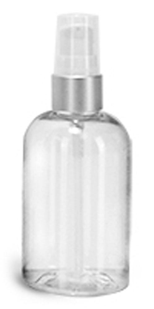 4 oz PET Plastic Bottles, Clear Boston Round Bottles w/ White Lotion Pumps w/ Brushed Aluminum Collars