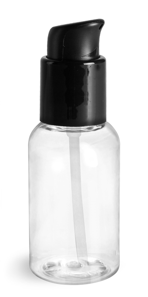 2 oz Clear PET Boston Round Bottles With Black Treatment Pumps