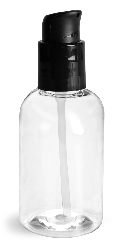 4 oz Clear PET Boston Round Bottles With Black Treatment Pumps