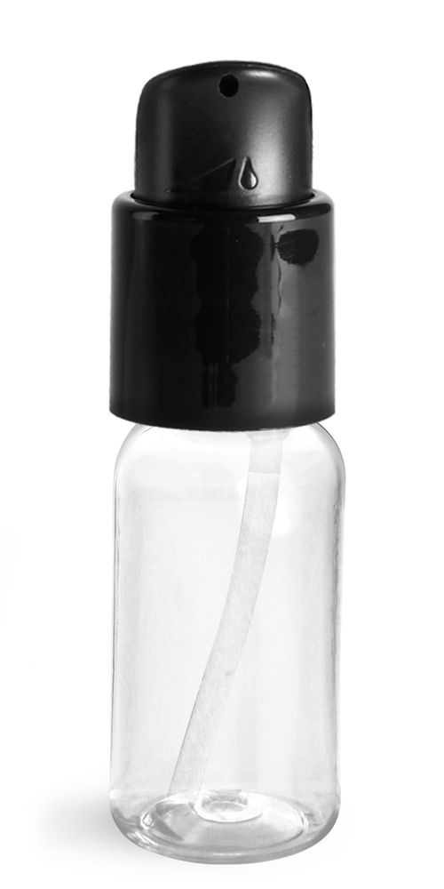 1 oz Clear PET Boston Round Bottles With Black Treatment Pumps