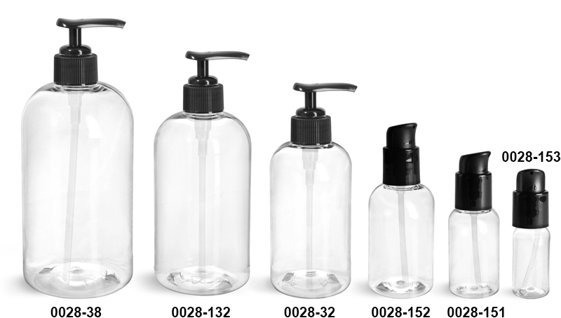 Plastic Bottles, Clear PET Boston Round Bottles With Black Lotion Pumps & Treatment Pumps