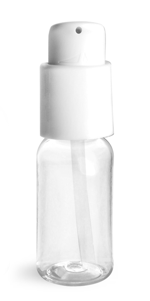 1 oz Clear PET Boston Round Bottles w/ White Treatment Pumps