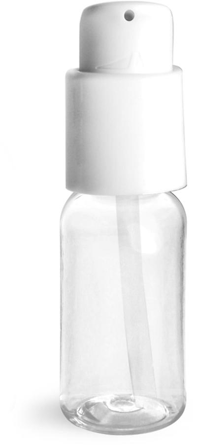 Clear PET Boston Round Bottles w/ White Treatment Pumps