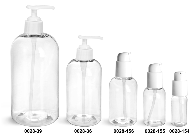 Plastic Bottles, Clear PET Boston Round Bottles With White Lotion Pumps & Treatment Pumps