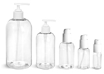PET Plastic Bottles, Clear Boston Round Bottles w/ White Lotion Pumps & Treatment Pumps