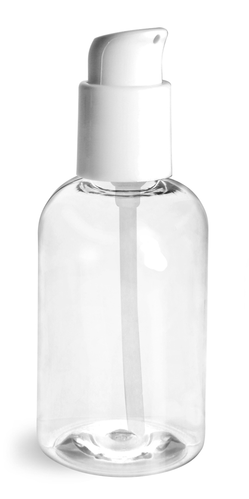 4 oz  Clear PET Boston Round Bottles w/ White Treatment Pumps