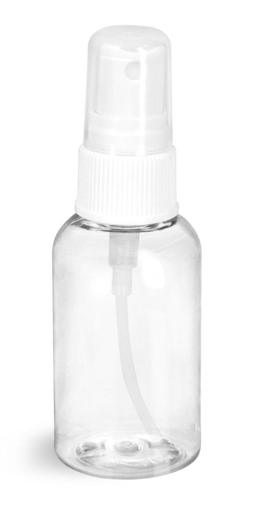 2 oz Clear PET Boston Round Bottles w/ White Fine Mist Sprayers