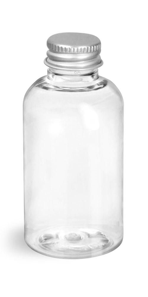 2 oz Clear PET Boston Round Bottles w/ Lined Aluminum Caps
