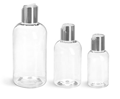 PET Plastic Bottles, Clear Boston Round Bottles w/ Silver Disc Top Caps