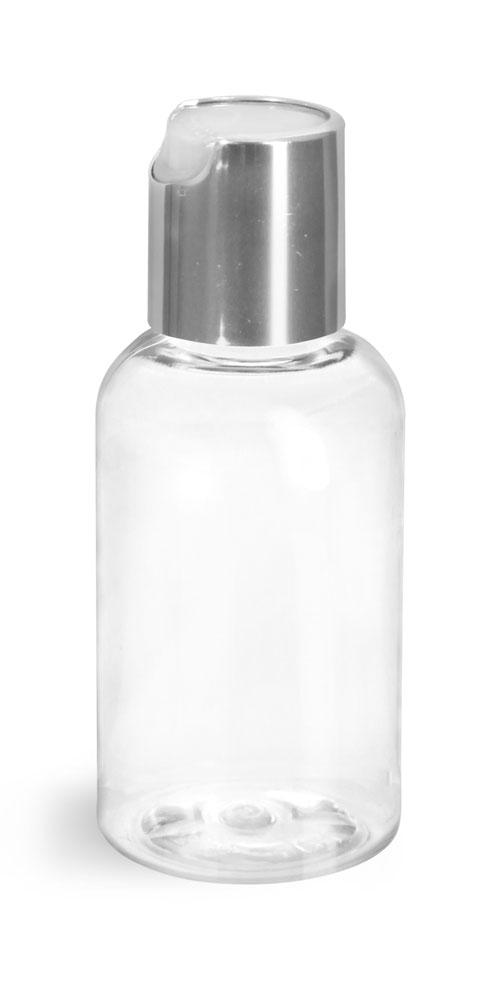 2 oz Clear PET Boston Round Bottles w/ Silver Disc Top Caps