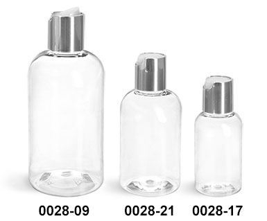 Plastic Bottles, Clear PET Boston Round Bottles With Silver Disc Top Caps