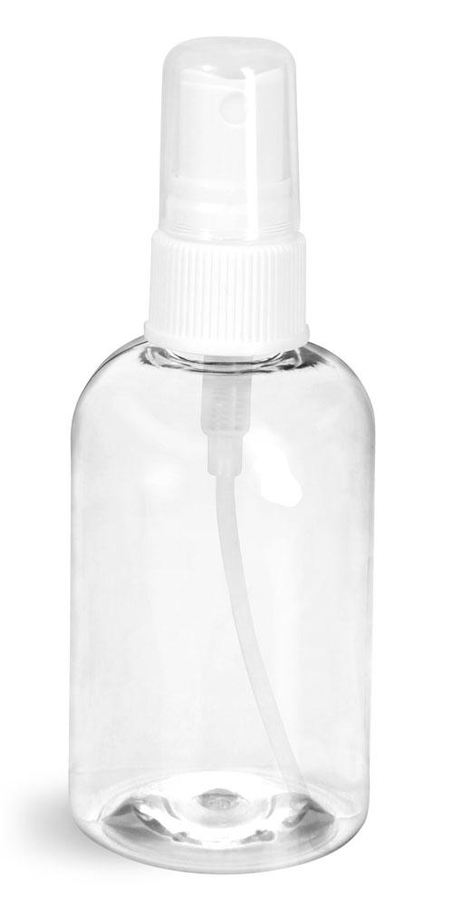 4 oz Clear PET Boston Round Bottles w/ White Fine Mist Sprayers