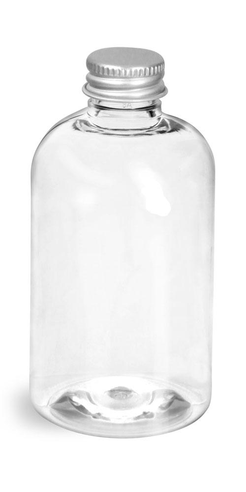 4 oz Clear PET Boston Round Bottles w/ Lined Aluminum Caps