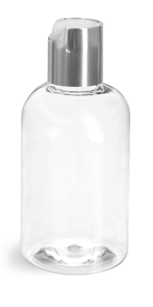 4 oz Clear PET Boston Round Bottles w/ Silver Disc Top Caps
