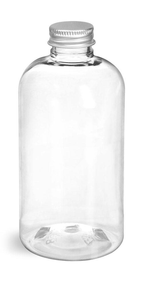 8 oz Clear PET Boston Round Bottles w/ Lined Aluminum Caps