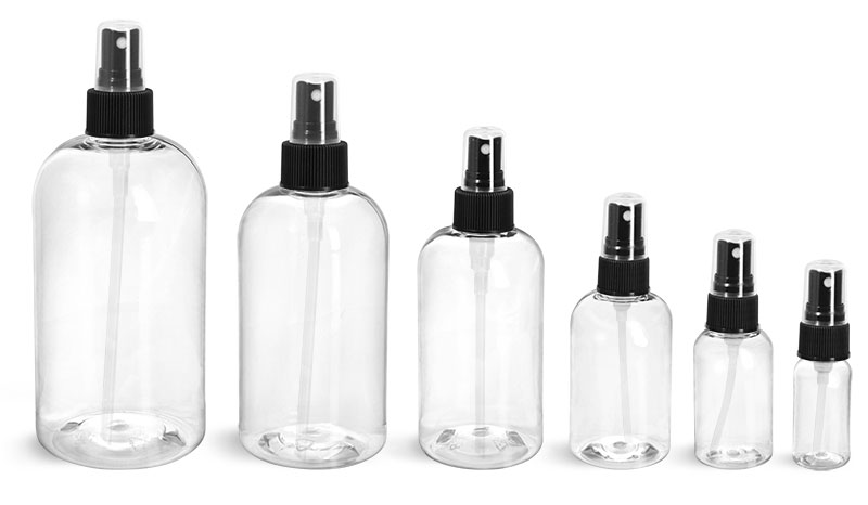 PET Plastic Bottles, Clear Boston Round Bottles w/ Black Fine Mist Sprayers