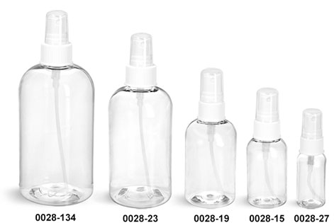 Plastic Bottles, Clear PET Boston Round Bottles With White Fine Mist Sprayers