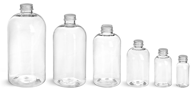 PET Plastic Bottles, Clear Boston Round Bottles w/ Lined Aluminum Caps